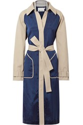 Alexander Wang T By Cotton Gabardine And Striped Satin Twill Trench Coat Beige Gbp