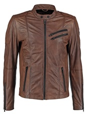 Freaky Nation Davidson Leather Jacket Wood Brown