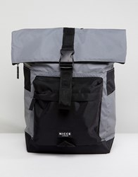 Nicce London Rolltop Backpack In Reflective Grey
