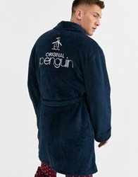 Penguin Robe With Embroidered Back In Navy