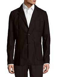 Dolce And Gabbana Solid Two Button Virgin Wool Blend Jacket Black