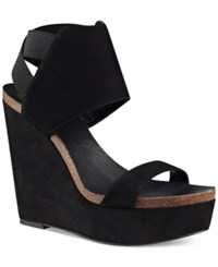 Vince Camuto Kresta Platform Wedge Sandals Women's Shoes Black