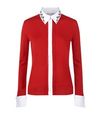 Mary Katrantzou Bextor Embellished Collar Cardigan Female Red