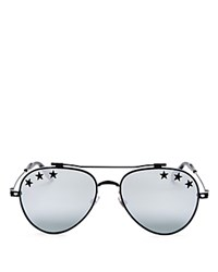 Givenchy Mirrored Embellished Aviator Sunglasses 58Mm Black Silver