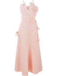 Rosie Assoulin Stripe Pineapple Maxi Dress Red