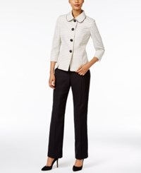 Le Suit Club Collar Tweed Pantsuit Sunshine Multi