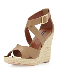 Charles David Olympia Leather Wedge Sandal Nude