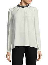 Prada Jewelneck Silk Top White