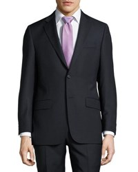 Hickey Freeman Classic Fit Mini Check Wool Suit Navy