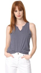 Skin Split Neck Top Navy White Stripe