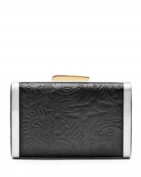 Hayward Tooled Leather And Snakeskin Clutch Bag Black