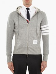Thom Browne Grey Cotton Striped Sleeve Hoodie