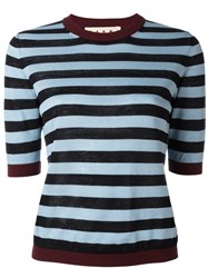 Marni Striped Knitted Top Blue