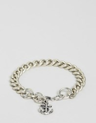Double U Frenk Iron Chain Anchor Bracelet Silver