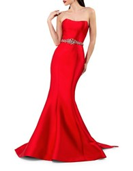 Glamour By Terani Couture Waist Accent Back Bow Mermaid Gown Red
