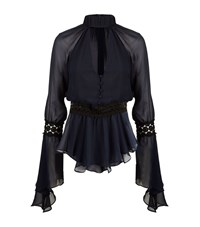 Nicholas Georgette Batwing Top Female Blue