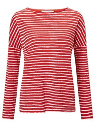John Lewis Collection Weekend By Stripe Drop Sleeve Linen Top Red