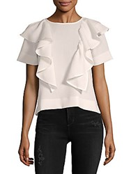 Lucca Couture Ruffle Short Sleeve Top White