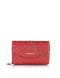Love Moschino Evening Quilted Eco Leather Crossbody Bag Red