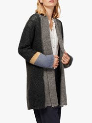 Brora Mohair Blend Colour Block Cardigan Charcoal