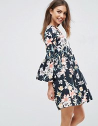 Asos Smock Dress With V Neck And Trumpet Sleeve In Floral Print Floral Print Multi