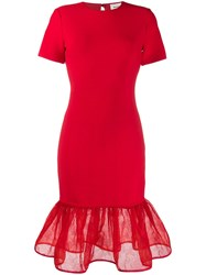 Alexander Mcqueen Peplum Hem Fitted Dress Red