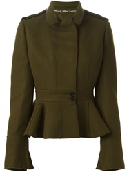 Alexander Mcqueen Peplum Military Jacket Green
