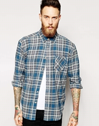 Asos Oversized Shirt In Long Sleeve With Marl Check Blue