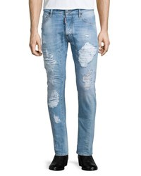 Dsquared Super Distressed Skinny Leg Denim Jeans Light Blue