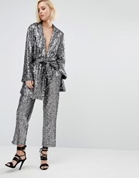 Religion Christmas Awkward Length Trousers In Sequin Co Ord Silver