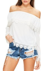 Missguided Women's Bardot Off The Shoulder Lace Top
