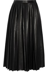 By Malene Birger Asla Pleated Faux Leather Midi Skirt Black