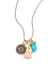 Sydney Evan Turquoise Sapphire Multicolor Diamond And 14K Rose Gold Spiritual Trio Charm Necklace