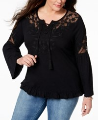 Styleandco. Style Co Plus Size Lace Up Embroidered Peasant Top Created For Macy's Deep Black