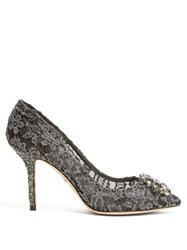 Dolce And Gabbana Bellucci Crystal Embellished Lace Pumps Dark Grey