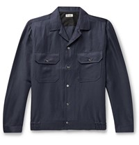 Camoshita Camp Collar Linen Blend Overshirt Blue