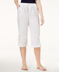 Karen Scott Petite Cotton Drawstring Capri Pants Only At Macy's Bright White