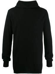 Rick Owens Cashmere Hooded Knitted Sweater Black