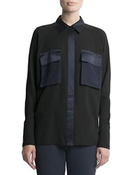 Pink Tartan Satin Trimmed Blouse Black Navy