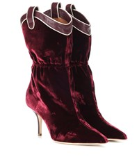 Malone Souliers Daisy Velvet Ankle Boots Red