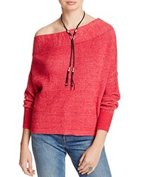 Free People Alana One Shoulder Sweater Red