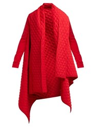 Norma Kamali Blanket Quilted Coat Red