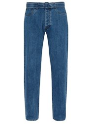 Prada Vintage Mid Rise Belted Jeans Light Blue