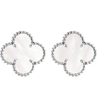 Van Cleef And Arpels Vintage Alhambra Gold Mother Of Pearl Earrings White Gold