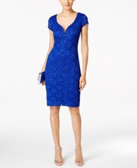 Connected Sequined Lace Sweetheart Sheath Dress Cobalt Blue
