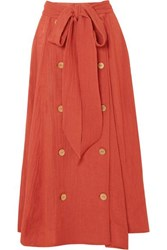 Lisa Marie Fernandez Diana Linen Blend Midi Skirt Bright Orange