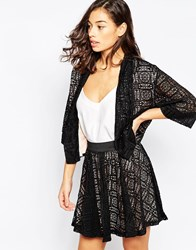 Mela Loves London Contrast Lace Jacket Black