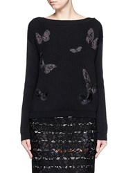 Valentino 'Camubutterfly Noir' Embroidery Chunky Knit Sweater Black
