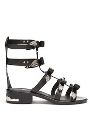 Toga Bow Embellished Leather Gladiator Sandals Black