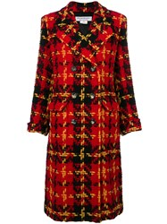 Yves Saint Laurent Vintage Double Breasted Plaid Coat Red